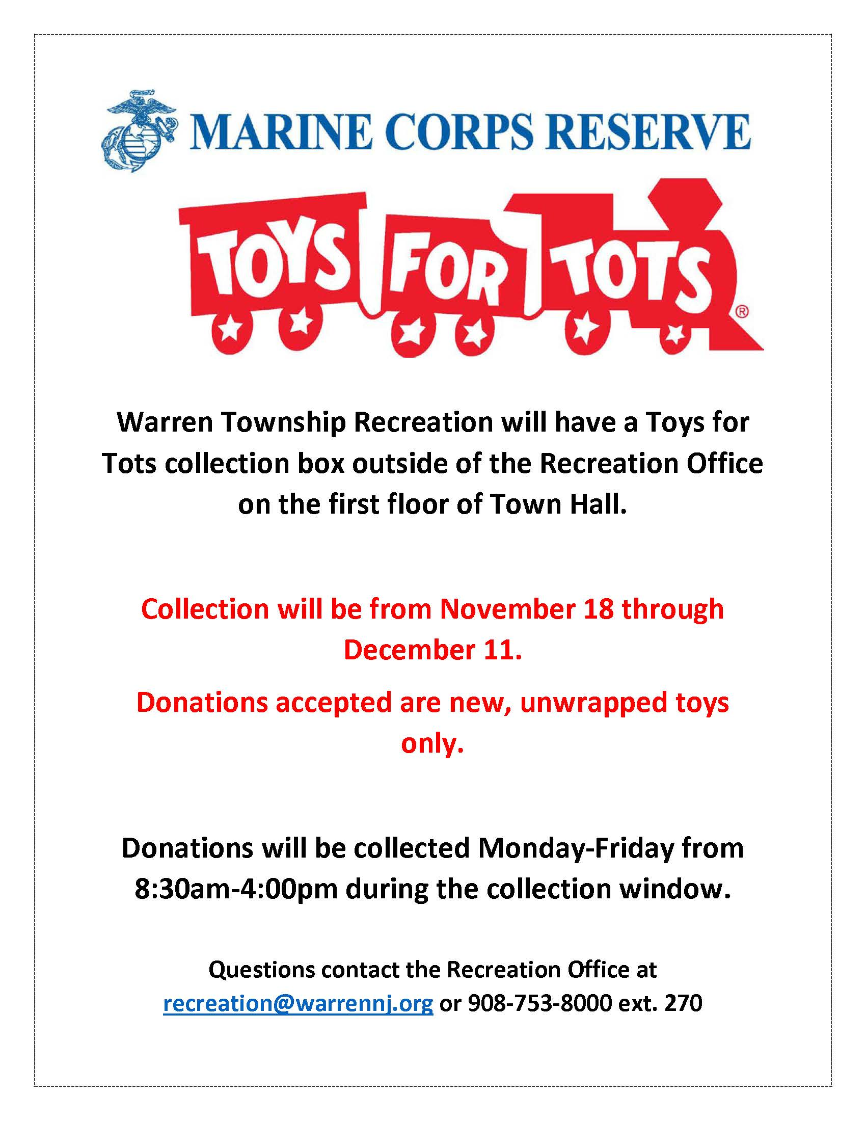 Toys for Tots Warren Recreation 2020 Flyer