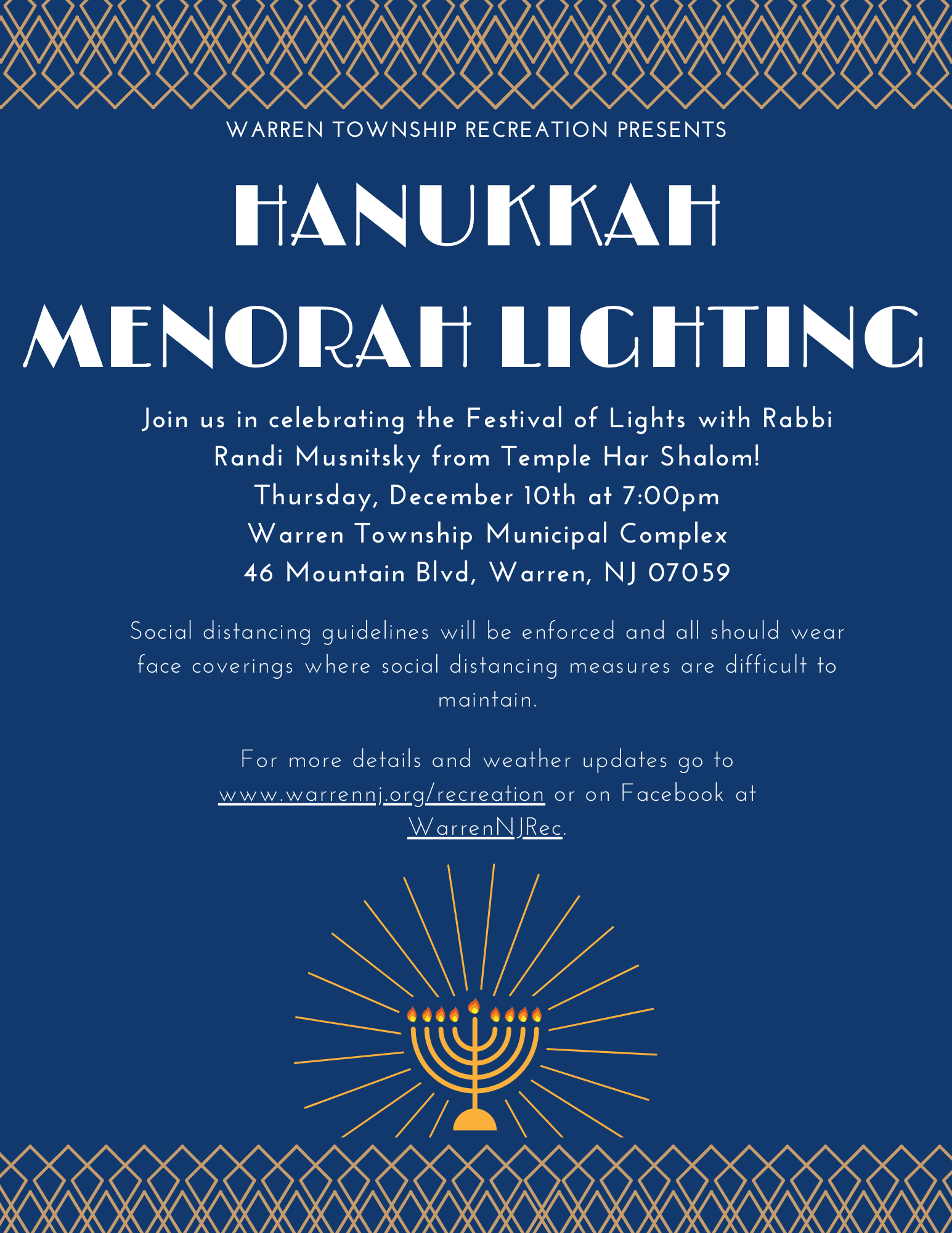 Warren Township Menorah Lighting 2020