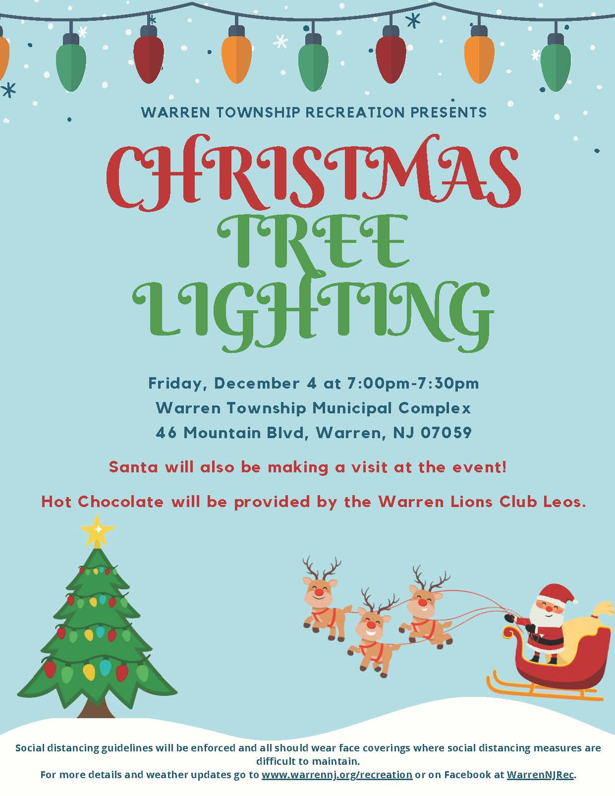 Warren Township Christmas Tree Lighting Event 2020